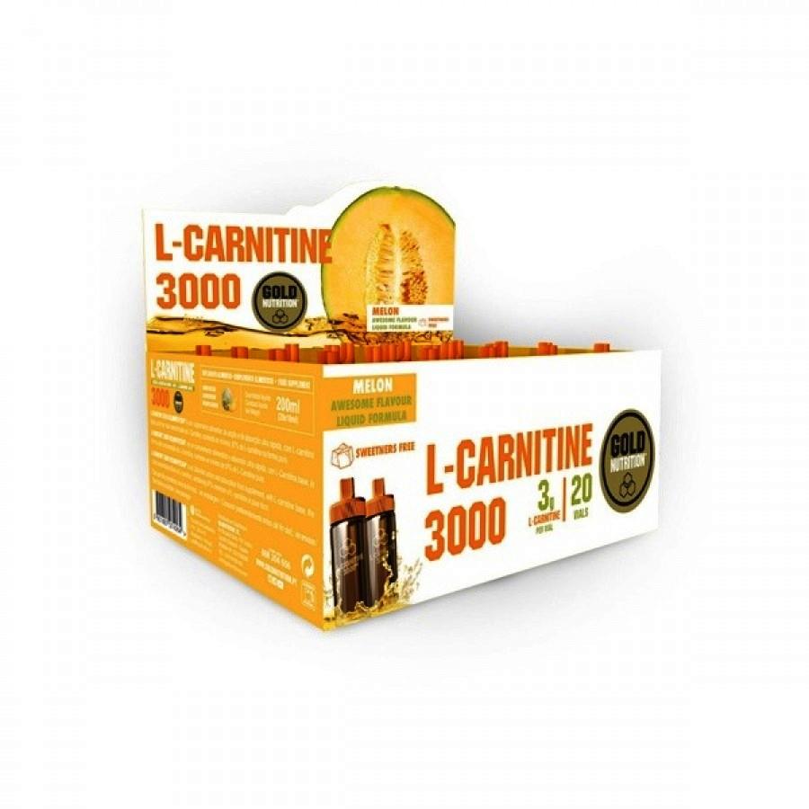 L-Carnitine 3000 Melão - 20 Ampolas Gold Nutrition