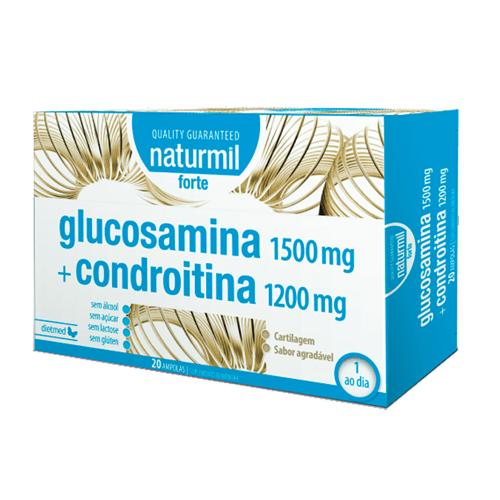 Glucosamina 1500mg + Condroitina 1200mg - 20 Ampolas Naturmil Forte