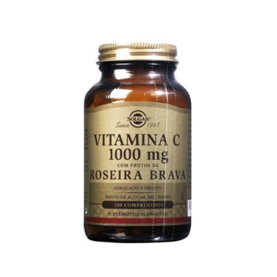 Vitamina C 1000mg com Frutos Roseira Brava - 100 Comprimidos Solgar