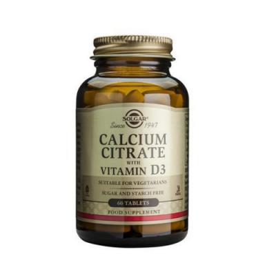 Citrato de Cálcio com Vitamina D3 60 Comprimidos Solgar