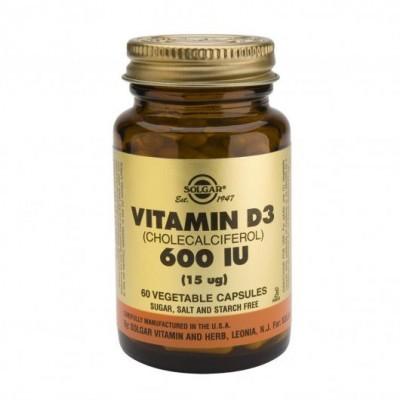 Vitamina D3 (Colecalciferol) 600 UI 15ug - 60 Cápsulas Solgar