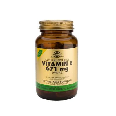Vitamina E 671mg 1000IU - 50 Cápsulas Solgar