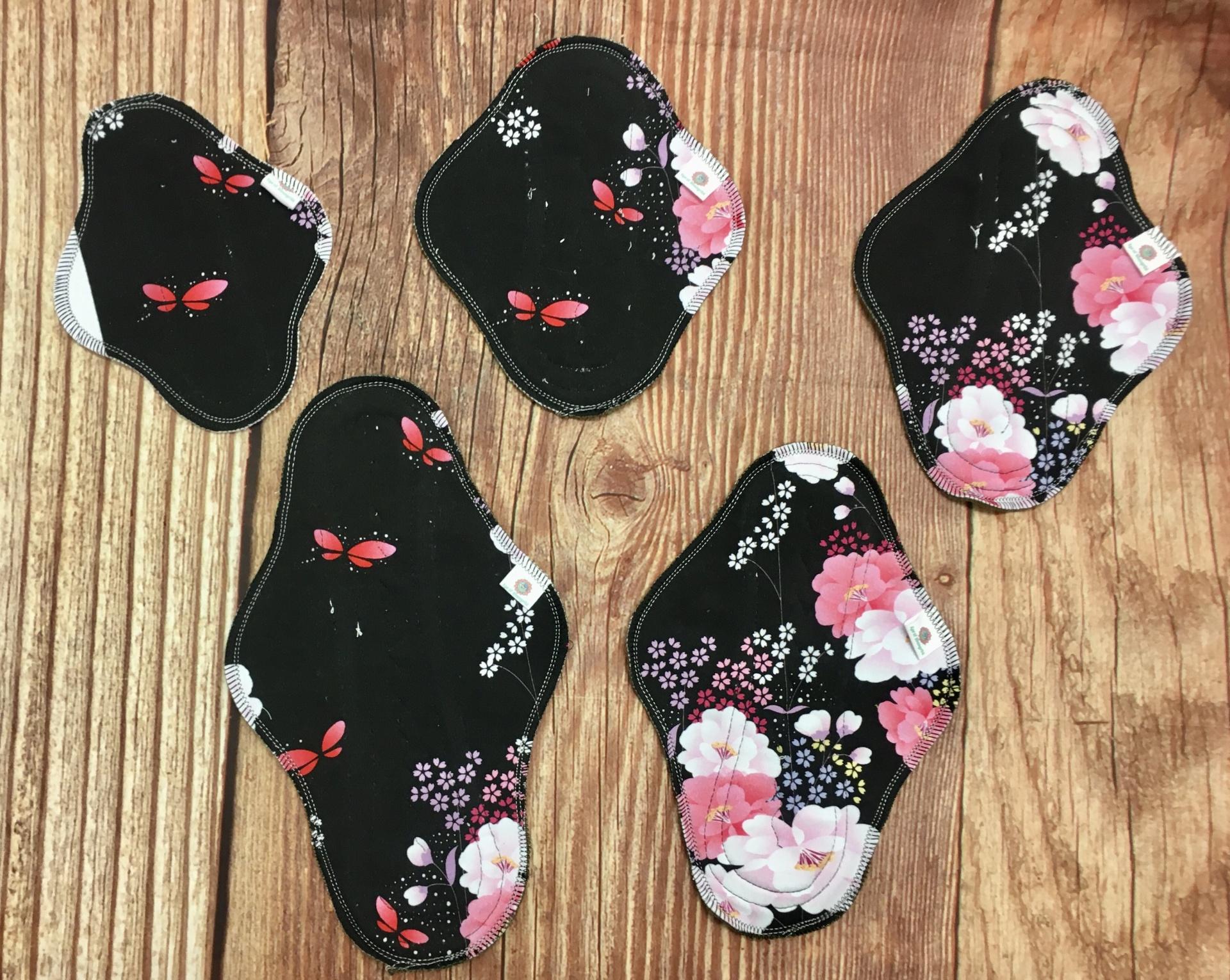 Pensos menstruais reutilizáveis Flores de cerejeira