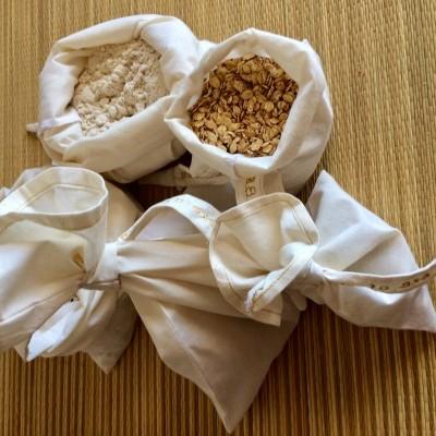 Sacos de compras em algodão natural e biológico cereais e legumes/organic cotton produce bag for grain and vegetables