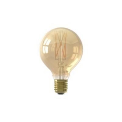 Lâmpada LED Calex regulável com filamento retro G80 dourada E27 4w 320lm 2100K