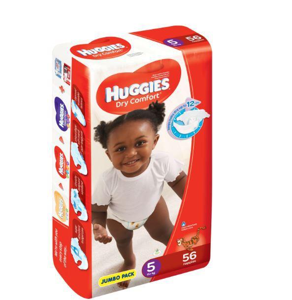 Huggies ® Dry Comfort - Tamanho 5 (12 - 22 Kg), 56 Fraldas