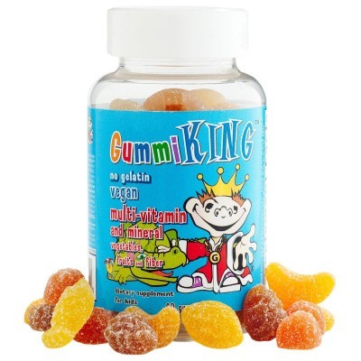 Gummi King: Multi-Vitamin and Mineral, Vegetables, Fruits and Fiber, For Kids, 60 Gummies