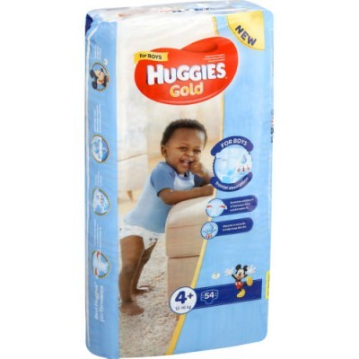 Huggies ® Gold Boy- Tamanho 4+ (12 - 16 Kg), 54 Fraldas