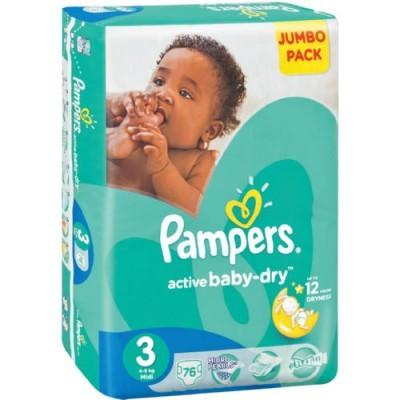 Pampers® Newbaby-Dry Tamanho 3 (4 - 9 Kg) - Jumbo Pack 76 Fraldas