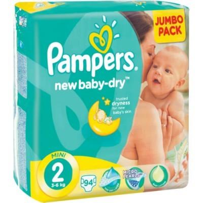 Pampers® Newbaby-Dry Tamanho 2 (3 - 6 Kg) - Jumbo Pack 94 Fraldas