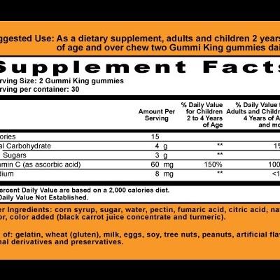 Gummi King: Vitamin C for Kids, Natural Orange Flavor, 60 Gummies
