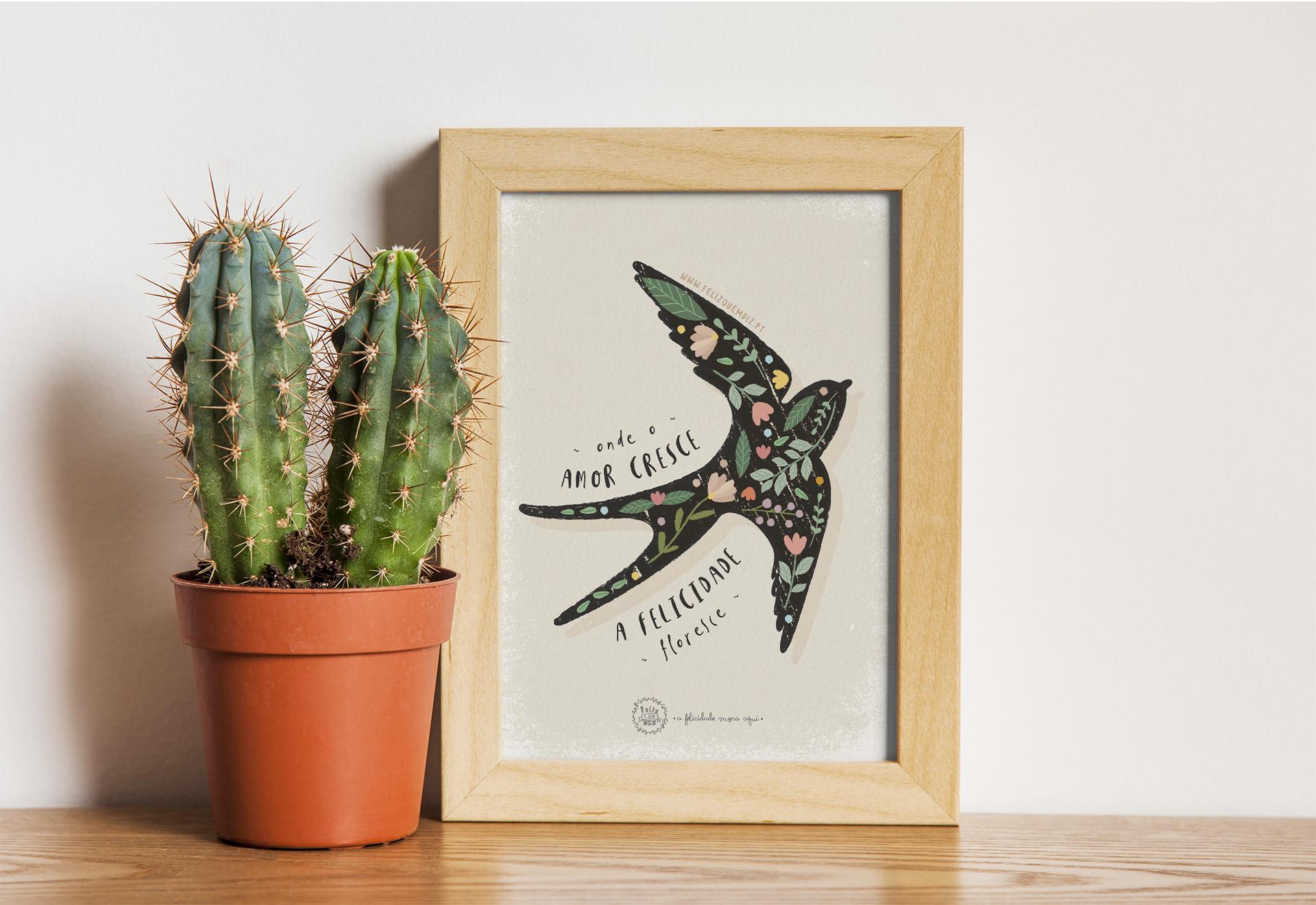 Art print . Felicidade floresce