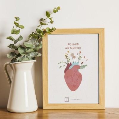 Art print . No rain, no flowers