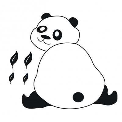 Panda e folhas