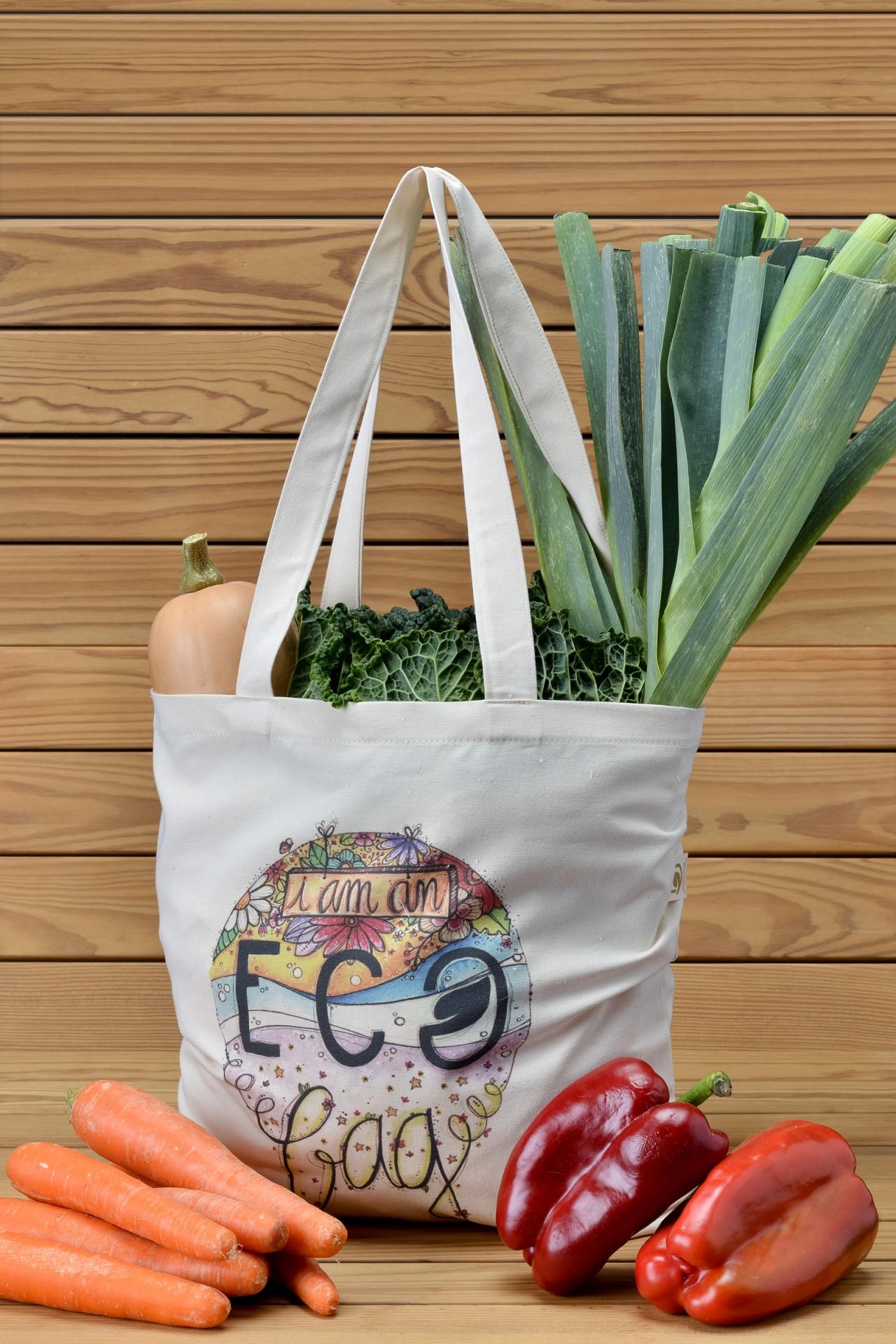 Saco de Alças compridas - Tote Bag em alg. bio.
