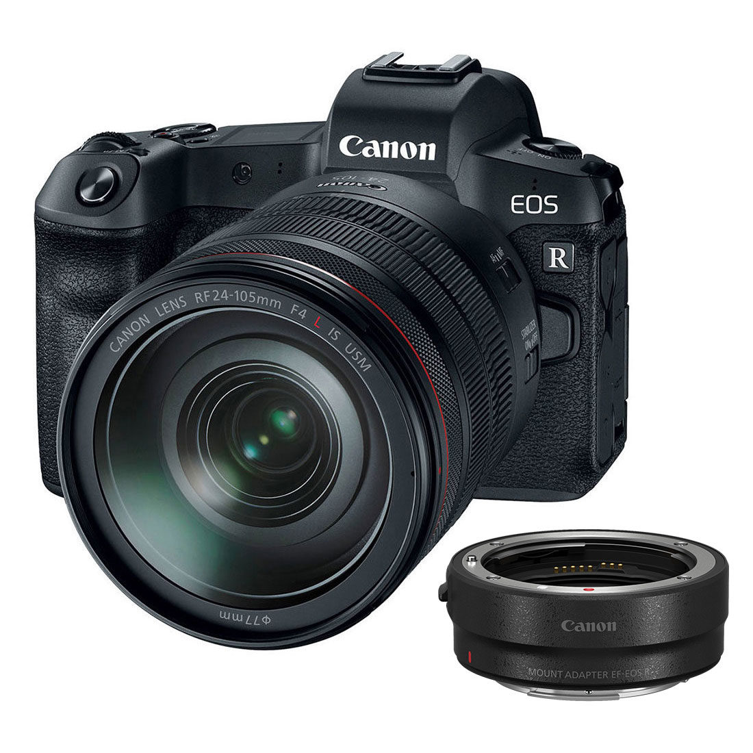 Canon EOS R preta + adaptador RF 24-105mm f / 4.0L + EF