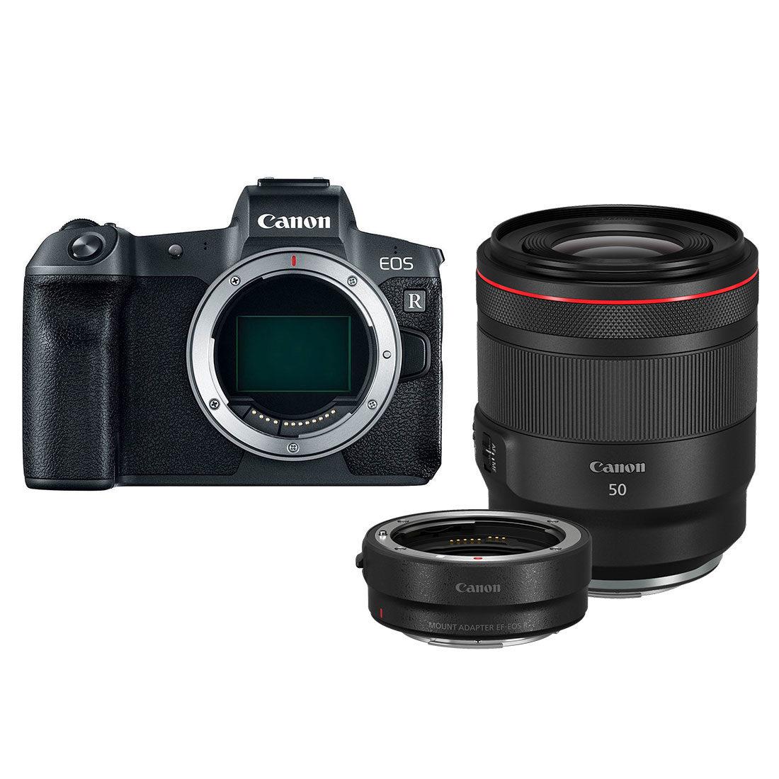 Canon EOS R preta + adaptador RF 50mm f / 1.2L + EF