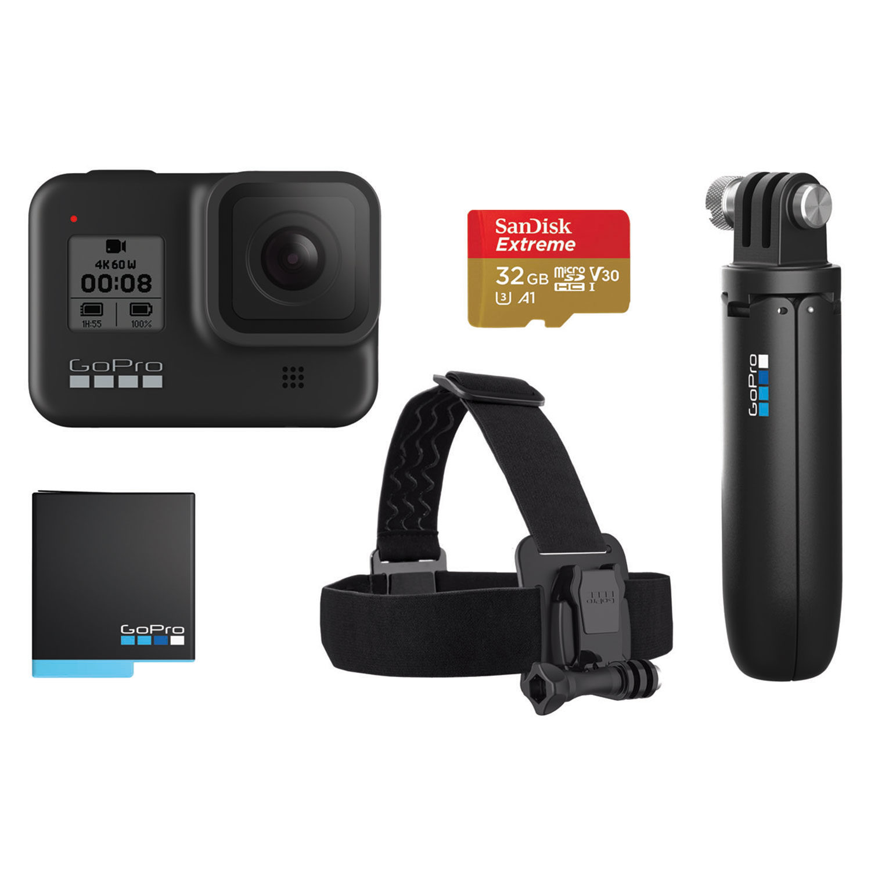 GoPro Hero 8 Black Pack Monopod + SD 32GB + Bateria + Head Strap