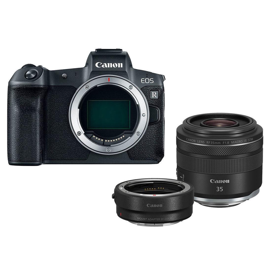 Canon EOS R Preta + RF 35mm f / 1.8 Macro + adaptador EF