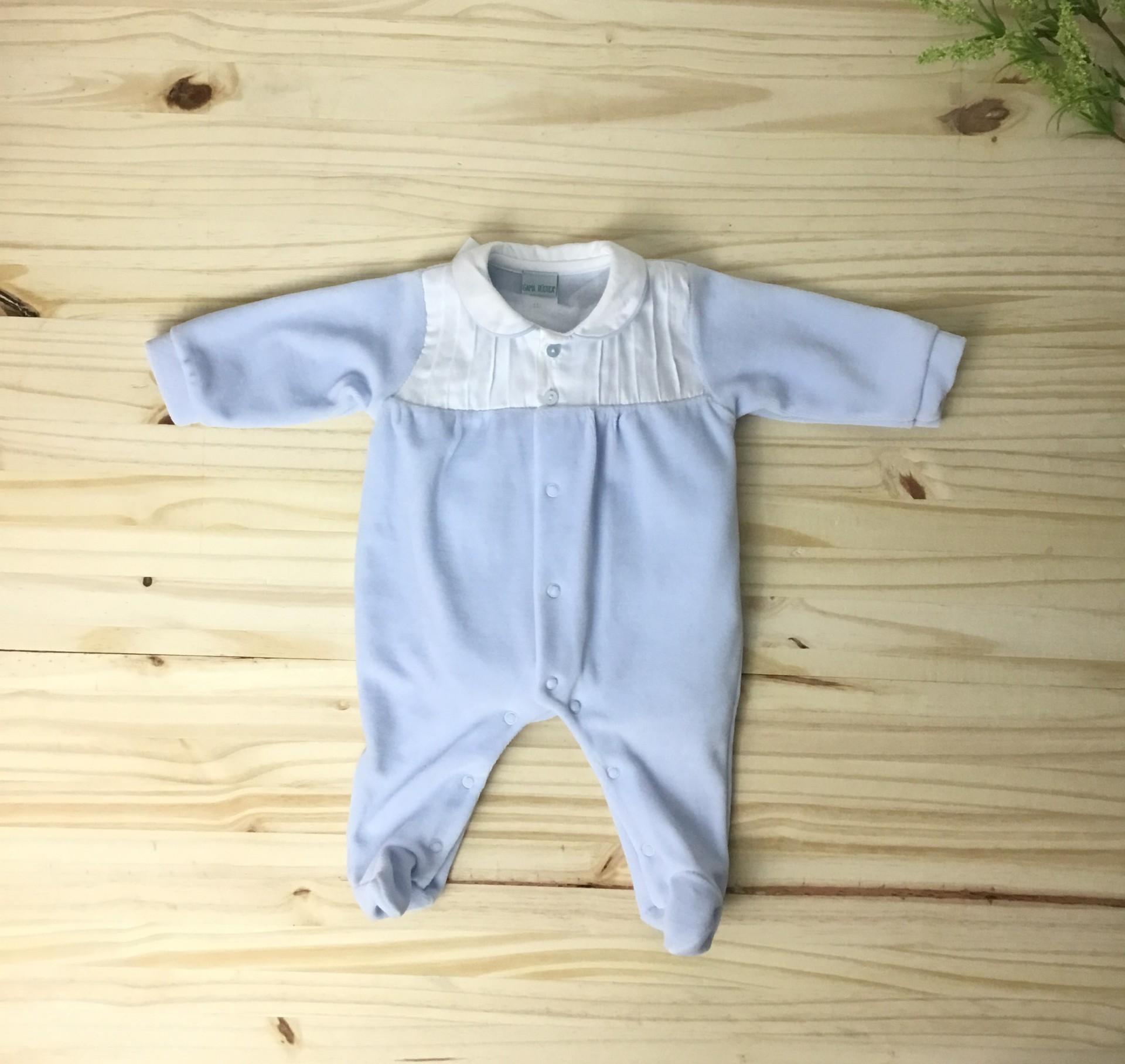 Babygrow azul pregas
