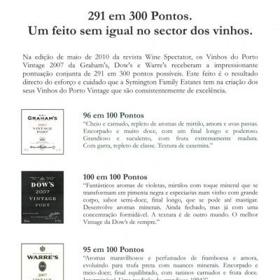CONJUNTO SYMINGTON PORTO VINTAGE 2007 - 291 EM 300 PONTOS