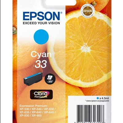 Tinteiro EPSON 33 Ciano - Expression Home XP-530/630/635/830/900/7100