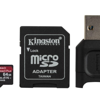 MicroSD Kingston React Plus 64GB class10 UHS-II U3 V90 A1(285MB/s-165MB/s)