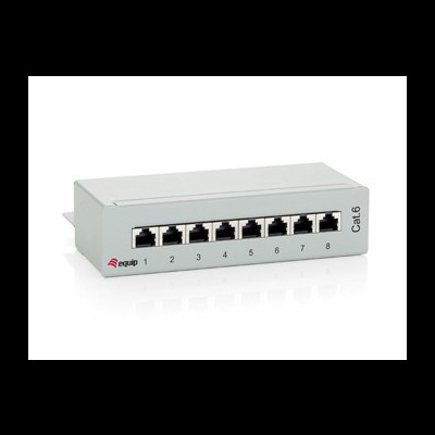 Patch Panel EQUIP Cat.6 8-Port, light-grey, shielded - 227369