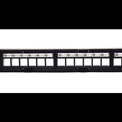 Professional Modular Blank Patch Panel With Cable Management 24 Ports, UTP, Black
