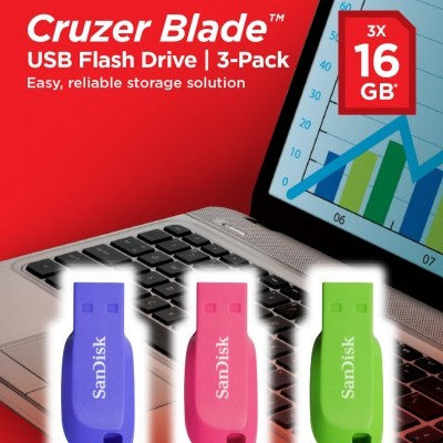 Pen Drive Sandisk Cruzer Blade 16GB USB 2.0-pack3 (blue/pink/green)