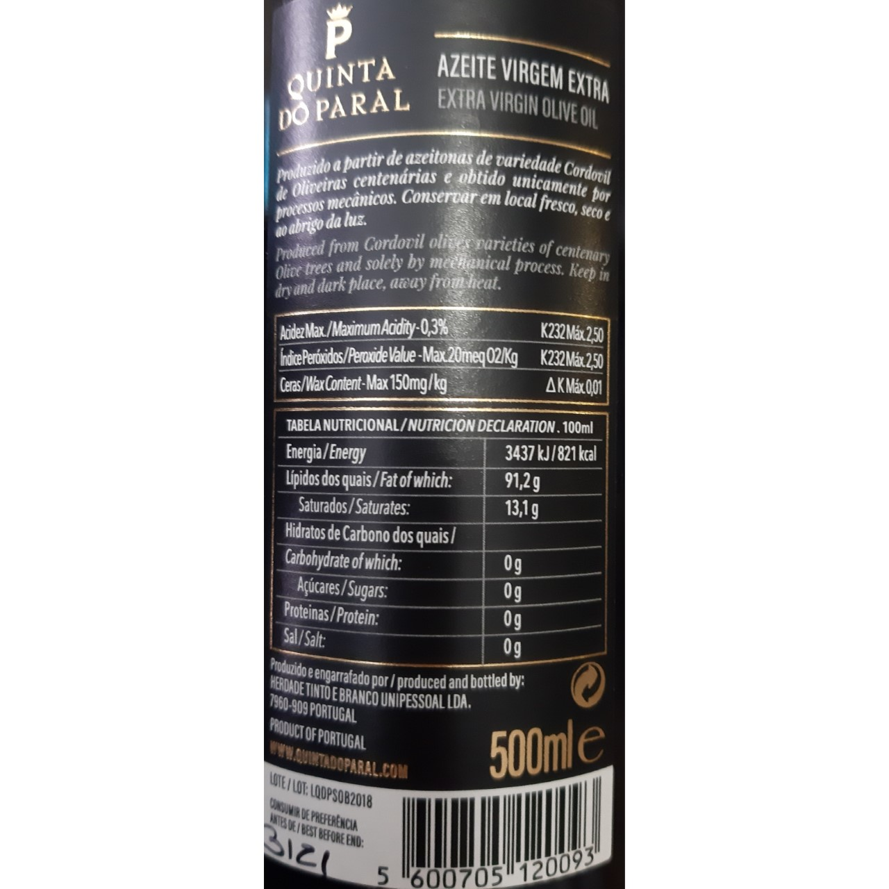 Quinta do Paral Azeite Virgem Extra 500ml (GWD)
