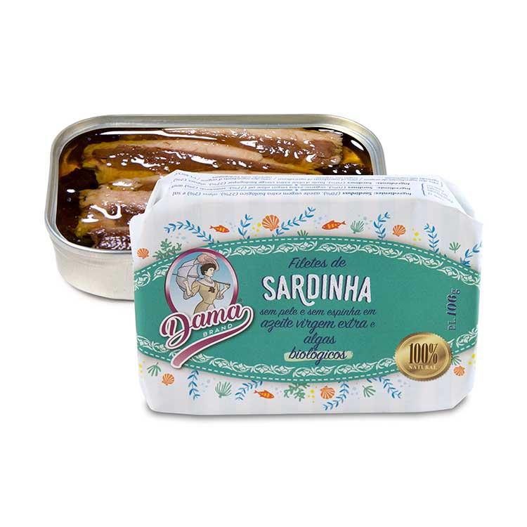 Filetes de Sardinha S/ Pele e S/ Espinha em Azeite Virgem Extra e Algas Bio - Dama