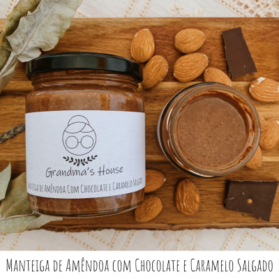 Manteiga de Amêndoa com Chocolate e Caramelo Salgado