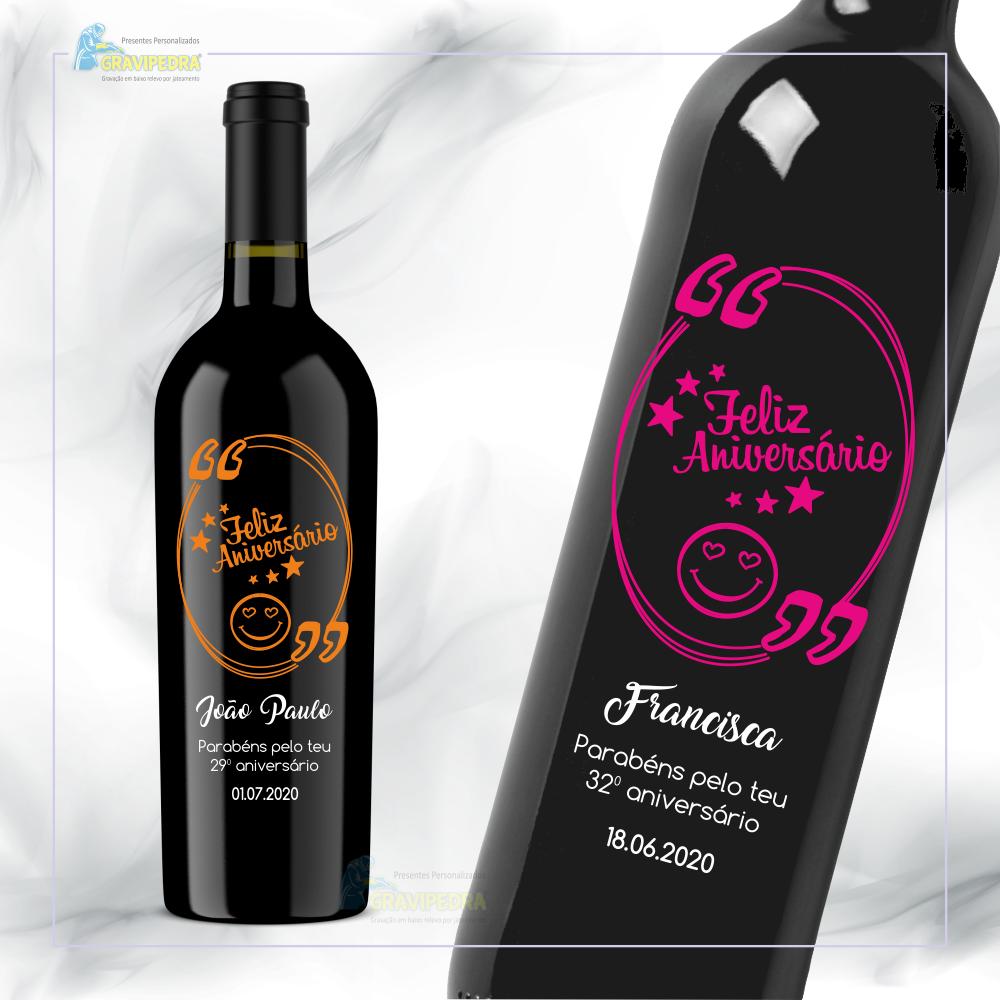 Garrafa de vinho personalizada para aniversário - GFA48a
