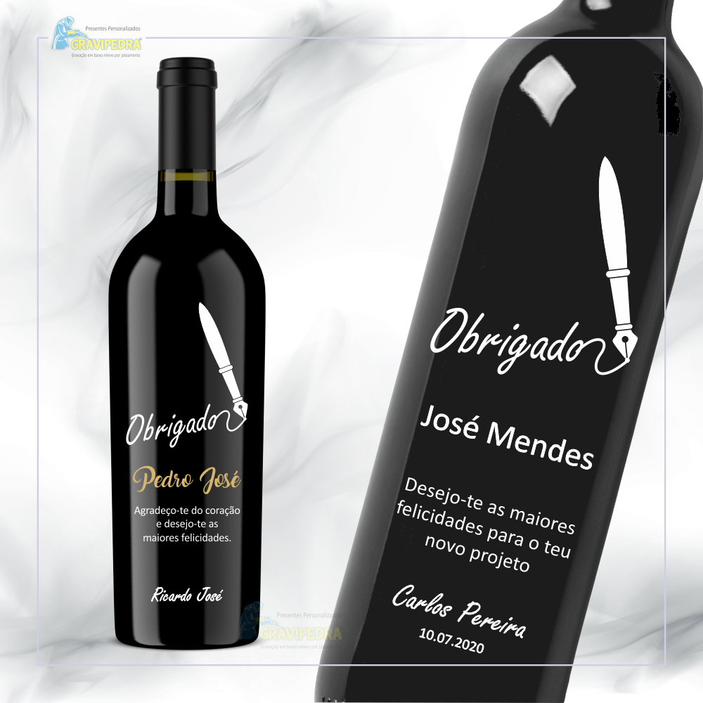 Garrafa de vinho personalizada - Agradecimento - GAG03