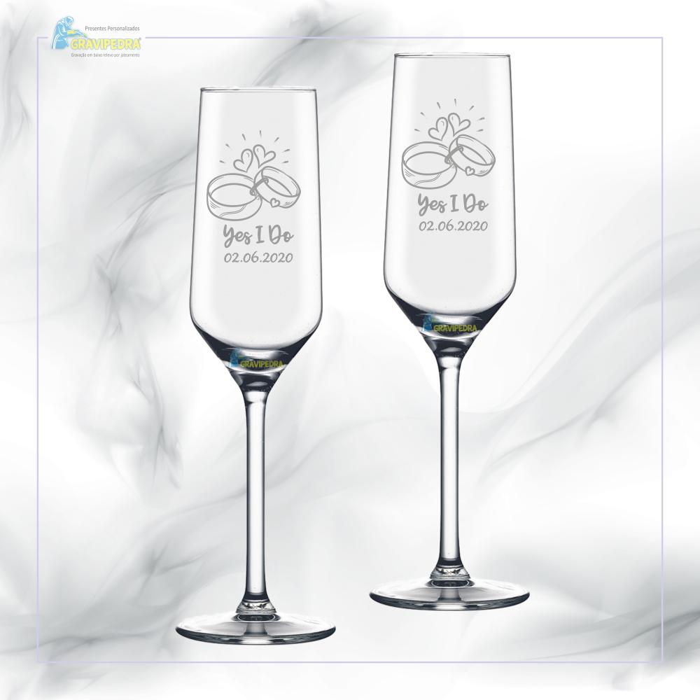 Pack 2 Copos em vidro personalizados - Casamento - CVCND07A