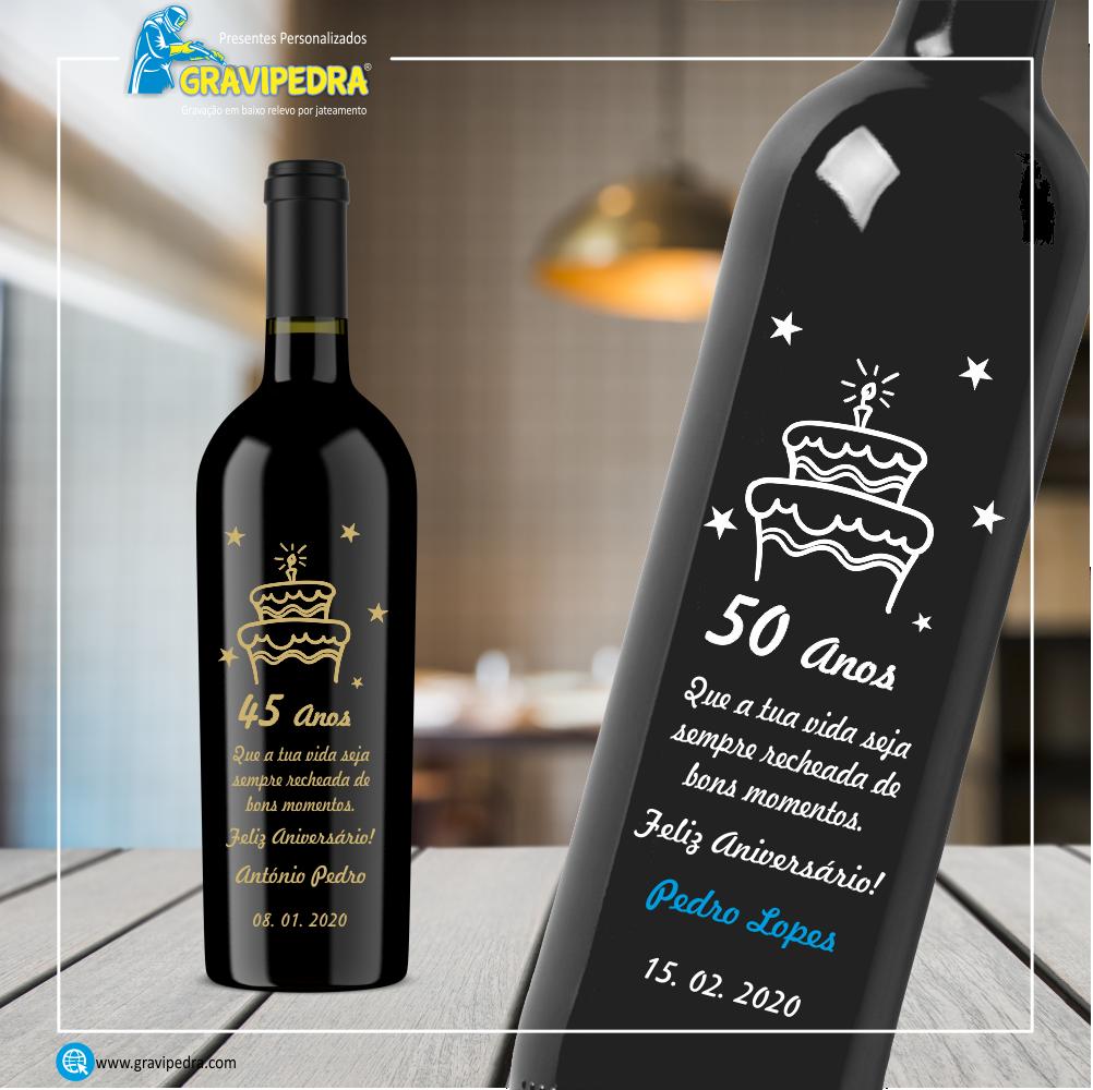 Garrafa de vinho personalizada - Aniversário - GFA17