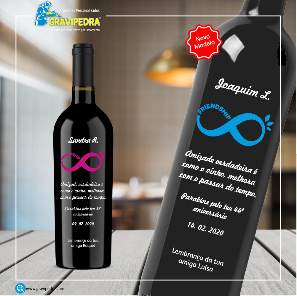Garrafa de vinho personalizada para Aniversário - GFA02