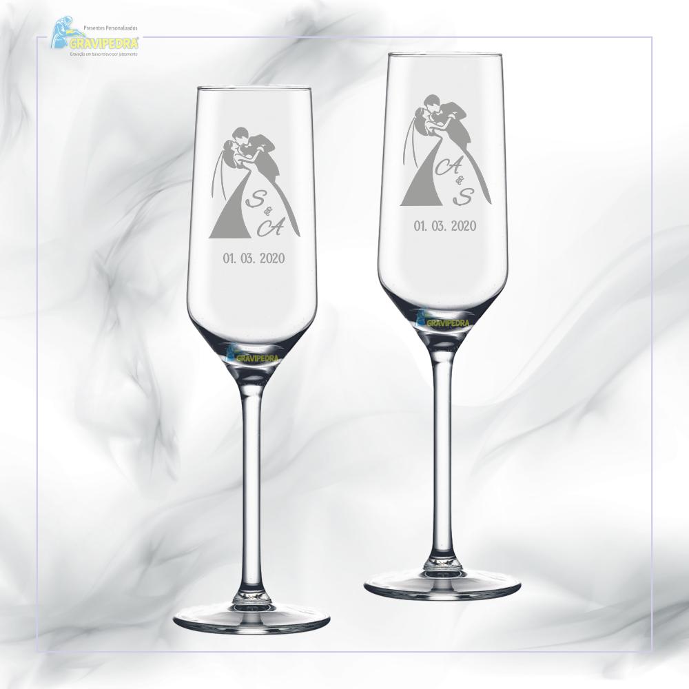 Pack 2 Copos em vidro personalizados - Casamento - CVCND03A