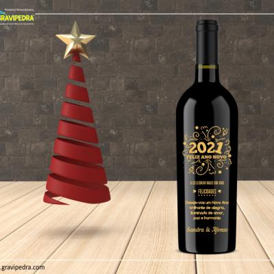 Garrafa de vinho personalizada para Natal/Ano Novo - GAN03