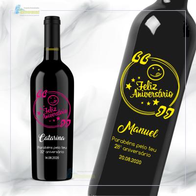 Garrafa de vinho personalizada para aniversário - GFA48