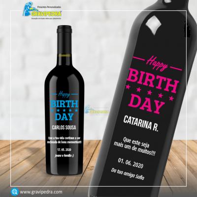 Garrafa de vinho personalizada para Aniversário - GFA55