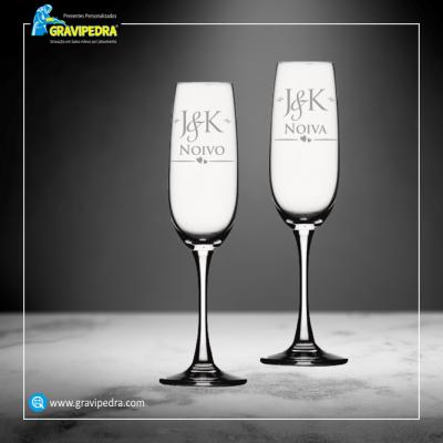 Pack 2 Copos em vidro personalizados - Casamento - CVCND05A