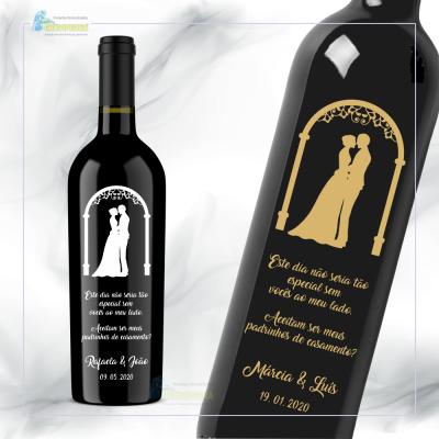 Garrafa de vinho personalizada para Casamento - GCN02