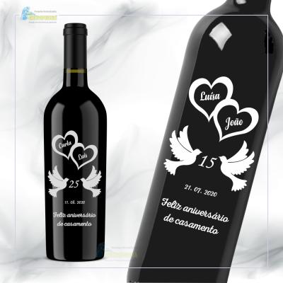 Garrafa de vinho personalizada - Casamento - GCN14