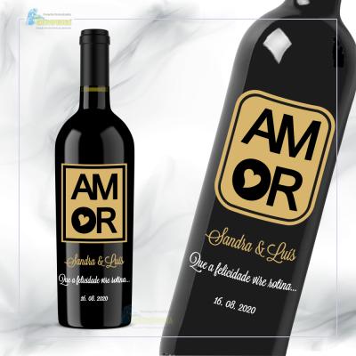 Garrafa de vinho personalizada com tema Amor / Love - GAL02