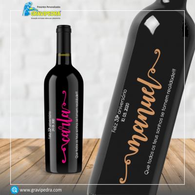 Garrafa de vinho personalizada para Aniversário - GFA09