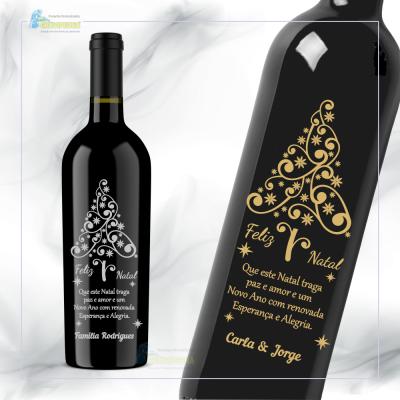 Garrafa de vinho personalizada para Natal/Ano Novo - GNA03