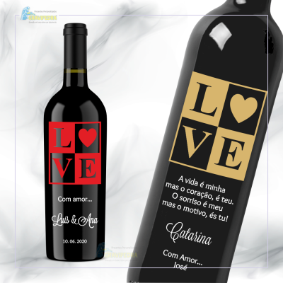 Garrafa de vinho personalizada com tema Amor / Love - GAL01