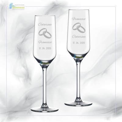 Pack 2 Copos em vidro personalizados - Casamento - CVCND04A